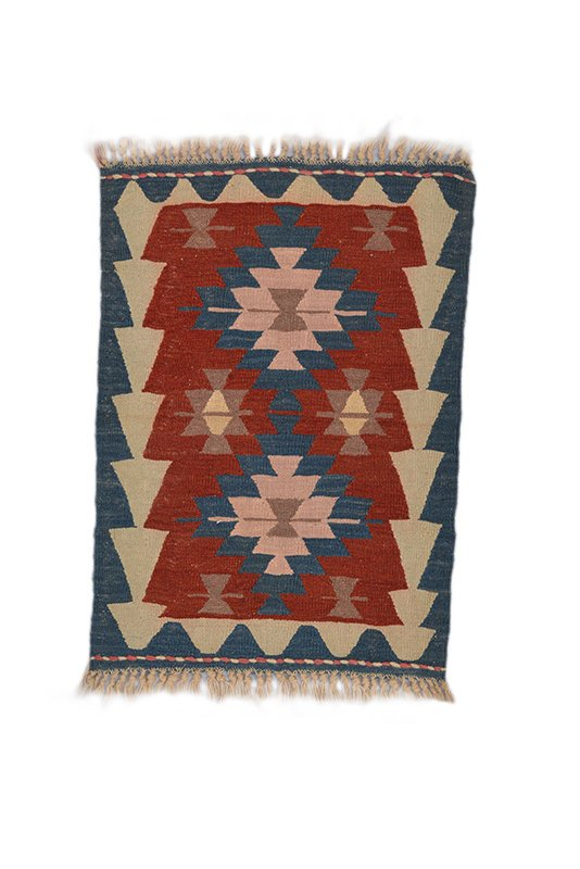 Handmade Turkish Kilim Rug, Vintage Handknotted Tribal Low Pile Small Accent Area Rug, Geometric Earth Tones Boho Style Rug 2 ft by 3 feet