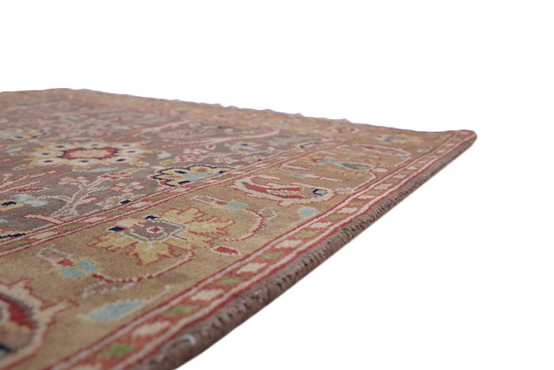 Antique Oriental Rug with Brown & Beige Floral Paisley Design | Size: 3 x 5 Ft | Rustic Home Design | Wool Handmade
