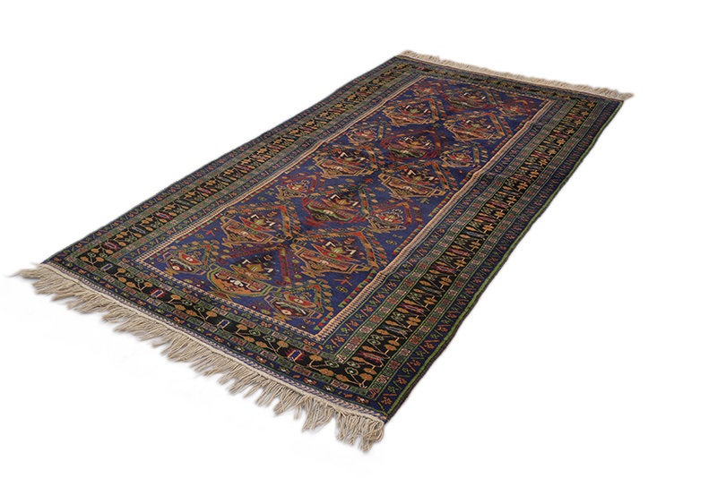 Purple Vintage Persian Rug | Size 4 x 7 feet | Antique Colorful with Tribal Motifs Wool Rug