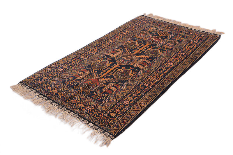 Orange Navy Tribal Rug | Ethnic Rug | 3 x 5 Area Rug | Small Vintage Rug | Medallion Rug | Wool Rug