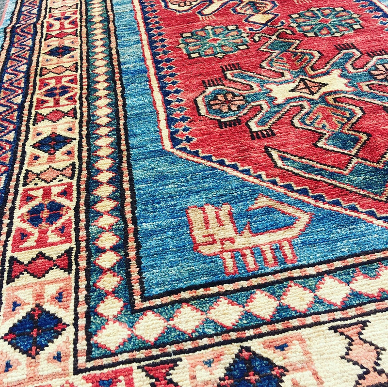 Handmade 3x5 feet Tribal Blue Beige Runner Rug Wool with Red Central Medallion