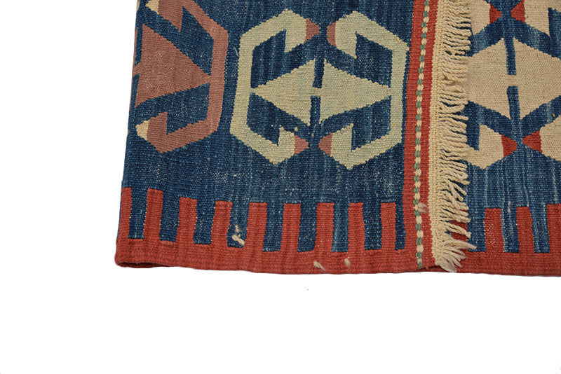 Vintage Turkish Kilim | 6 x 9 Ft | Area Rug | Blue Red Rug | Tribal Geometric Rug | Hand Knotted Wool Rug