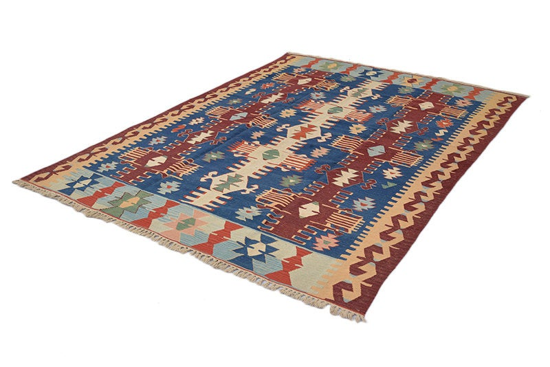 Turkish Kilim Area Rug | 4 x 6 Ft Rug | Handmade Blue Red Vintage Rug | Multicolor Vintage Rug | Tribal Flatweave Accent Area Rug