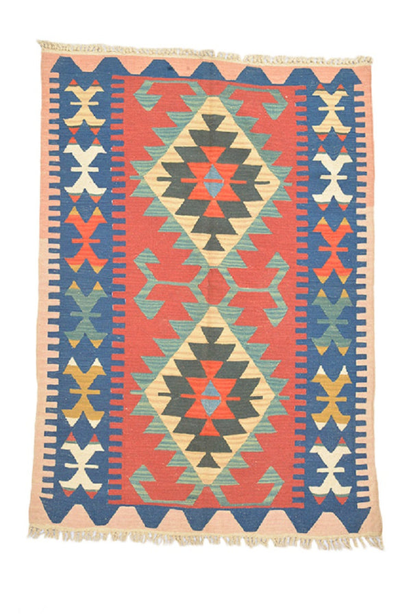 Turkish Kilim Rug | 4 x 6 Ft | Red Blue Rug | Flatweave Rug | Hand-Knotted Wool | Turkish Rug