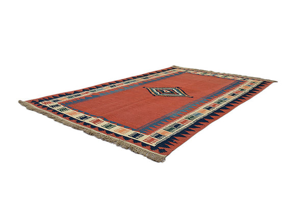 Turkish Kilim 6x8 Antique Rug | Hand Knotted Wool Rug | Authentic Vintage Solid and Bordered | Red Blue Beige Border