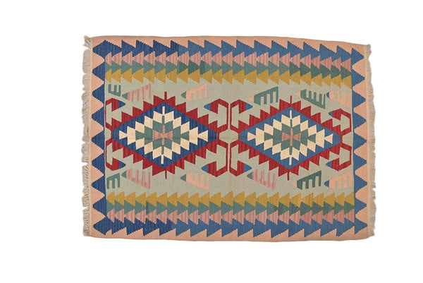 Vintage Kilim Rug | Multcolor Area Rug | Flatweave Rug |  Tribal 4x7 Area Rug | Kids Room Rug | Bohemian Colorful Rug