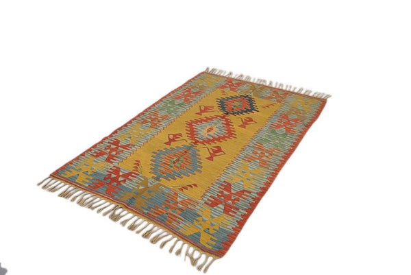 Yellow Kilim Rug | 4 x 6 Rug | Turkish Kilim Rug | Red Yellow Handmade Area Rug | Hand Knotted Rug | Boho Style Rug