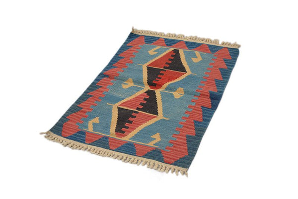 Turkish Kilim Rug | 2 x 3 Ft | Red Blue Rug | Small Area Rug | Wool Rug | Tribal Rug