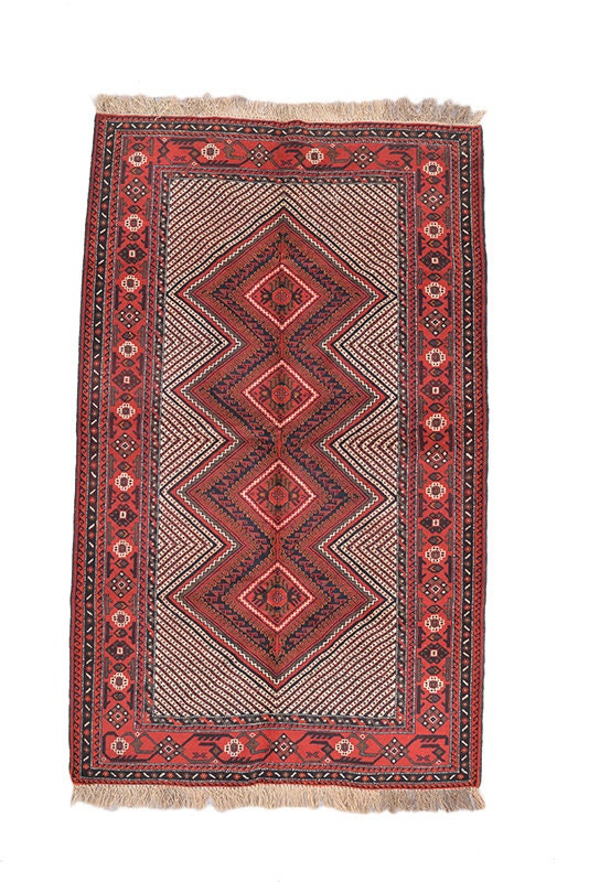 Red Tribal 4x7 Geometric Rug | Bohemian Hand Knotted Wool Rug | Diamond Medallion Tribal Rug | Boho Rug