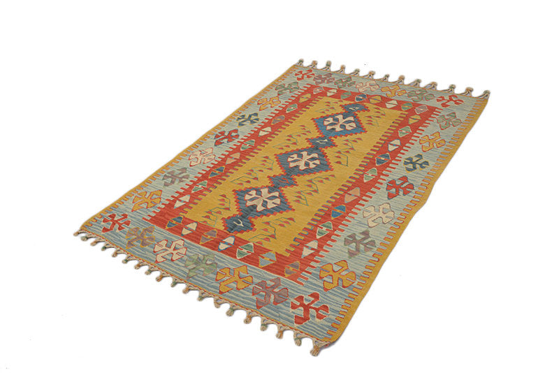 Vintage Turkish Kilim Rug | Handmade Area Rug | Yellow and Gray Rug | Ikat Rug | Fringe Rug | 4 x 6 Area Rug | Tribal Boho Rug
