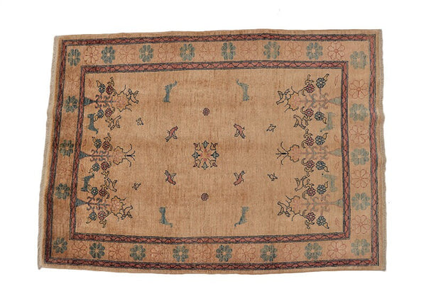 Beige Vintage Rug | 5 x 7 Feet | Farmhouse Rug | Bordered Rug | Hand Knotted Rug | Wool Rug | Soft Pile