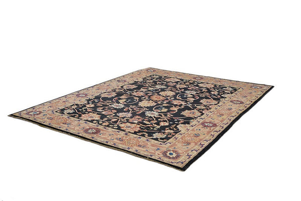 Large Black 8x10 Oriental Rug, Beige Brown Thick Border, Persian Floral Design Pattern, Dining Room Rug, Wool Thick Plush Pile