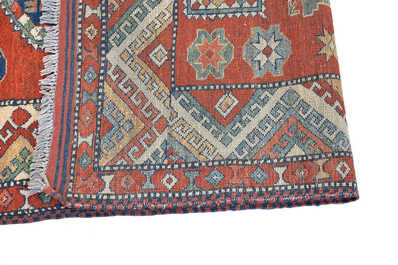 Tribal Vintage Rug | Square 5 x 5 feet | Red Blue Geometric Pattern | Antique Hand Knotted Soft Pile Rug