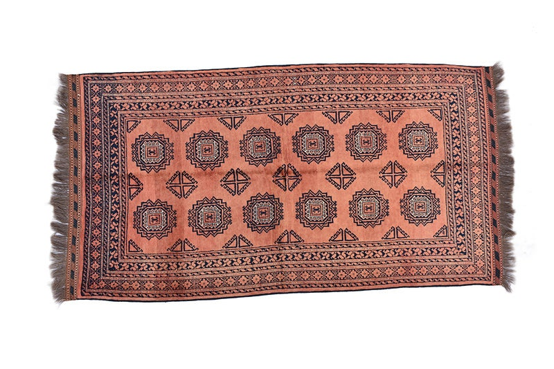 Coral Kashmiri 3x6 Vintage Rug | Antique Pakistan Rug with Multi Hexagon Design | Pure Wool Hand Knotted | Vintage Rug Shop