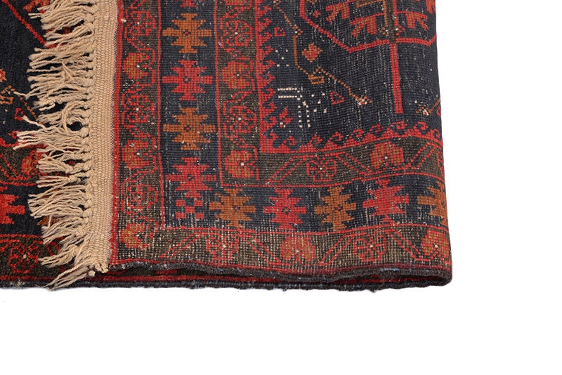 Vintage Boho 4 x 6 Low Pile Blue & Red Handmade Antique Rug with Geometric Circle Medallion Pattern