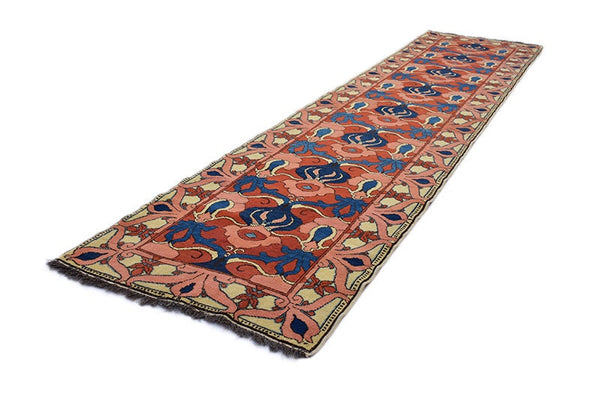 Vintage Coral and Blue Hand Knotted Runner | 3 x 12 ft Rug | Antique Runner Rug | Wool Runner | Floral Design Runner