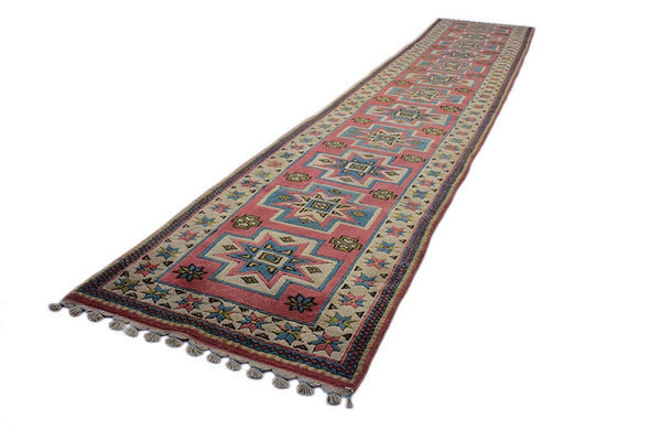 Runner Rug | Pink and Beige Vintage Rug | Tribal Kazak Runner | Long 3 x 16 ft Runner Rug | Boho Tribal Inspired Runner