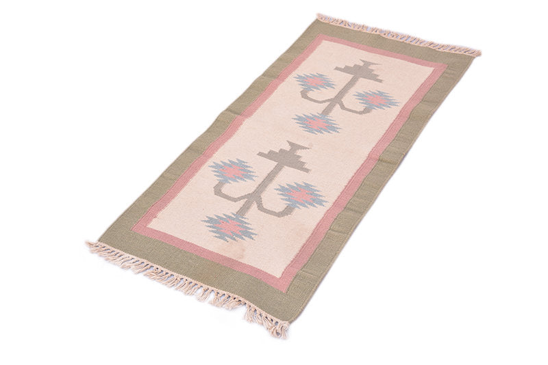 Light Pink 2x4 Turkish Rug Baby Room Decor with Scandinavian Tribal Pastel Color