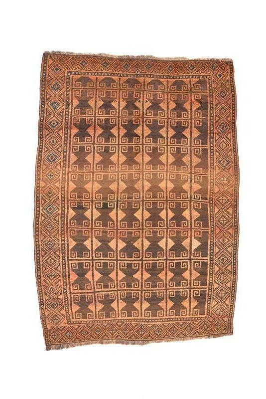Vintage Area Rug | Brown and Coral Faded Rug | Tribal Geometric Rug | 5 x 7 ft Area Rug | Antique Afghan Wool Rug | Rustic Interior Rug