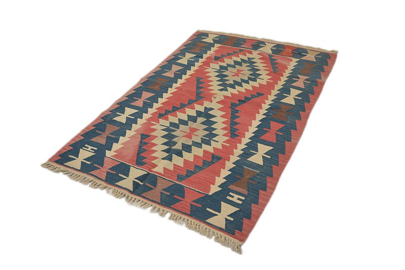 Flatweave Turkish Rug | 4 x 6 Ft | Area Rug | Hand-Knotted Wool | Beige Pink Area Rug