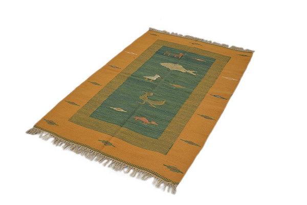 Turkish Kilim Yellow Rug | Animal Rug | 3 x 4 Rug | Yellow Area Rug | Low Pile Kilim Flat Weave Rug