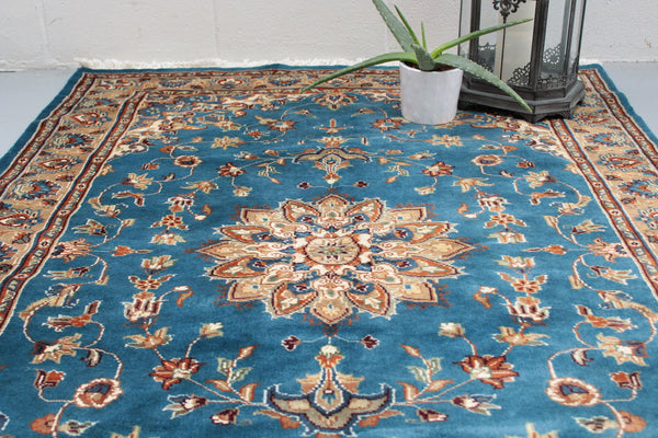 Vintage Blue Handmade Rug | Vintage Rug Shop | Blue Medallion Area Rug | Hand Knotted Wool Rug | Blue and Beige Rug | 4 x 6 Rug