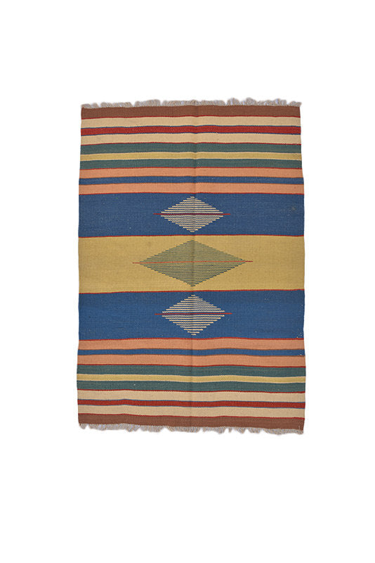 Turkish Kilim Flatweave Area Rug | 3 x 5 Ft | Bohemian Striped Rug | Vintage Blue Yellow Flatweave | Handmade Area Rug