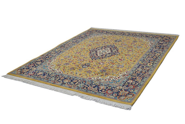 Luxury Fine Rug | 6 x 8 Ft Rug | Yellow and Navy Rug | Pakistan Rug | Antique Rug | Traditional Medallion Rug | One of a Kind |