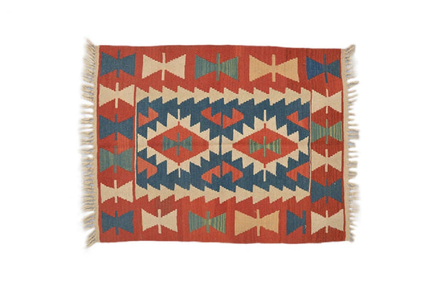 Vintage Red Blue Beige Handmade Area Rug, Wool & Cotton Turkish Kilim Decorative Floor Rug