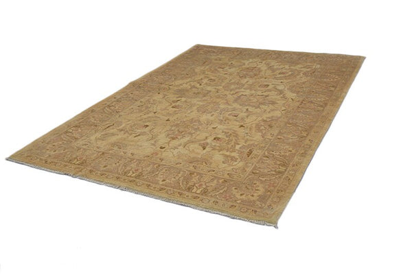 Beige 6x9 Neutral Floral Vintage Large Rug, Oriental Rug Faded, Antique Hand Knotted Decorative Design Rug