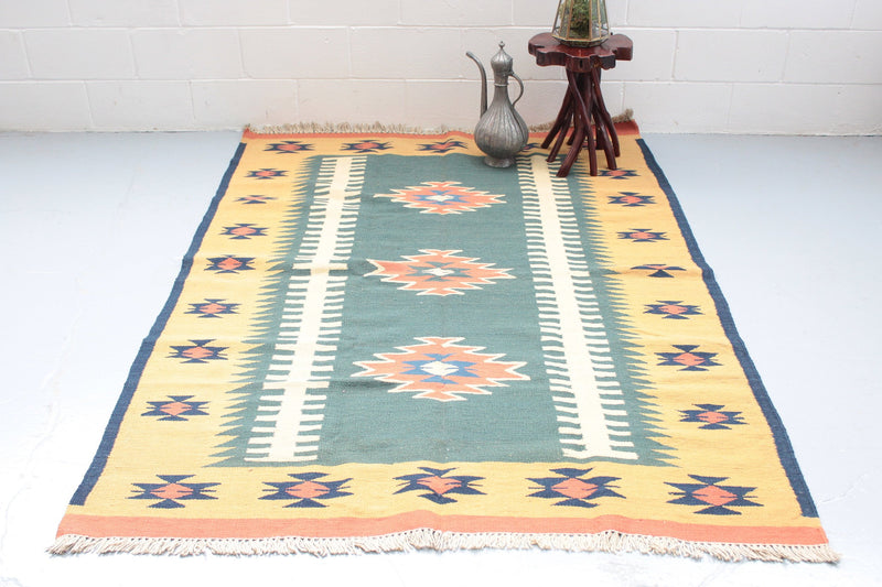 Turkish Kilim Rug | Antique Kilim Rug | Area Rug 5 x 7 | Green Yellow Tribal Rug | Southwest Accent Rug | Vintage Rug Shop