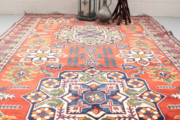 Orange Boho Rug | 6 x 9 Persian Rug | Vintage Persian Rugs | Tribal Rug | Vintage Rug Shop | Antique Persian Wool Rug | Orange and Blue Rug