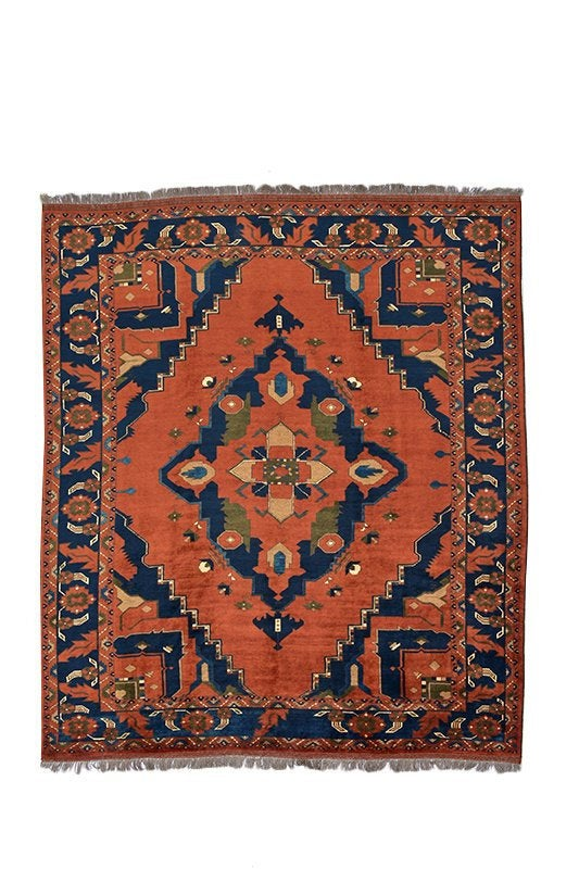Red Blue Vintage Rug | Tribal 8 x 10 Rug | Ethnic Rug | Geometric Rug | Colorful Rug | Vintage Rug Shop