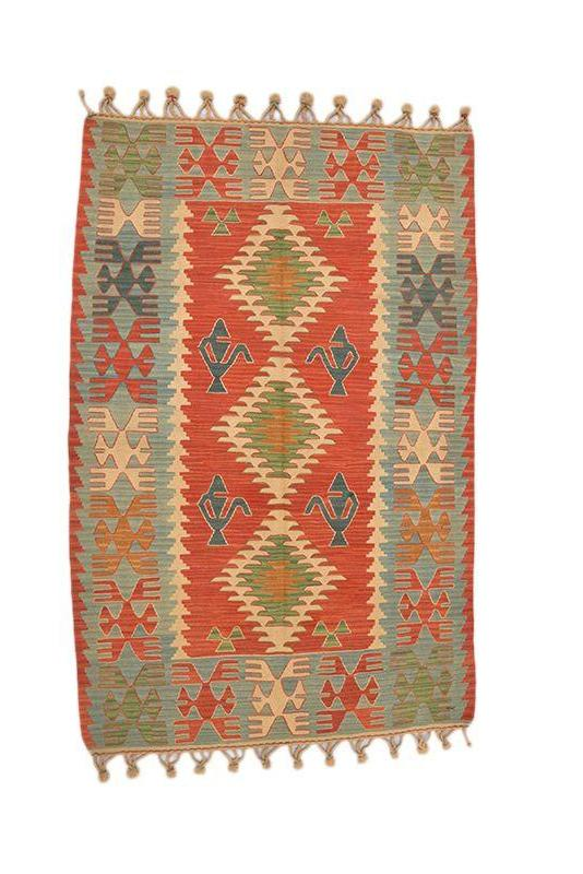 Turkish Kilim Rug | Turkish Wool Rug | 4 x 6 Rug | Tribal Rug | Red Orange Geometric Rug | Vintage Area Rug | Hand Knotted Rug