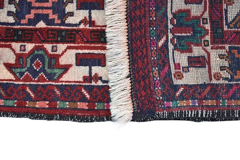 Red Navy Blue 4x6 Vintage Oriental Rug | Wool Area Rug | Bohemian Style Rug | Colorful Tribal Rug | Red Accent Rug