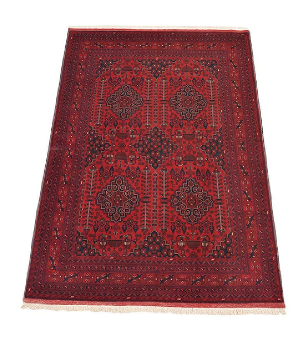 Red Tribal Area Rug | Bold Red Vintage Rug | 6 x 10 ft Area Rug | Hexagon Medallion Blue | Red Accent Rug | Boho Eclectic Rug
