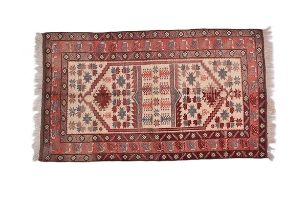 Red Boho 3 x 6 Turkish Rug | Vintage Tribal Rug | Geometric Pattern Multi Color | Rustic Home Decor | Wool Hand Woven Area Rug