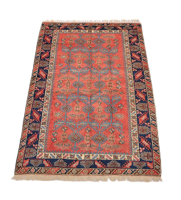 Red Navy Border Oriental Rug | 6x9 Large Area Rug | Turkish Vintage Rug | Hand Knotted Wool Area Rug