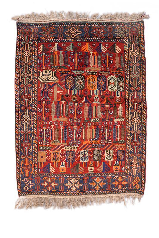 Red Tribal Rug | Bright Red Rug | Eclectic Decorative Rug | Hand Knotted Rug | 4 x 6 Ft Area Rug