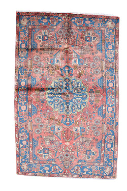 Coral Blue Antique 5x8 Persian Rug | Oriental Rug Hand Knotted Rug | Bohemian Soft Pile Accent Area Rug