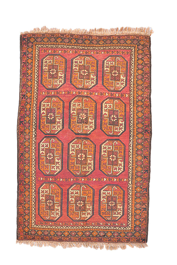 Pink Orange Vintage 4x6 Turkish Geometric Rug | Bohemian Wool Handmade Rug with Fringe