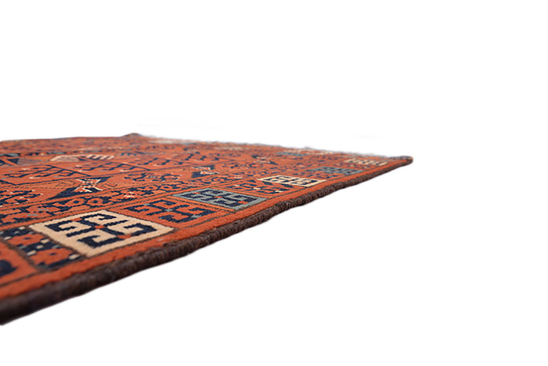 Tribal Orange Red 3x5 Rug | Bohemian Colorful Turkish Rug | Hand Knotted with Wool