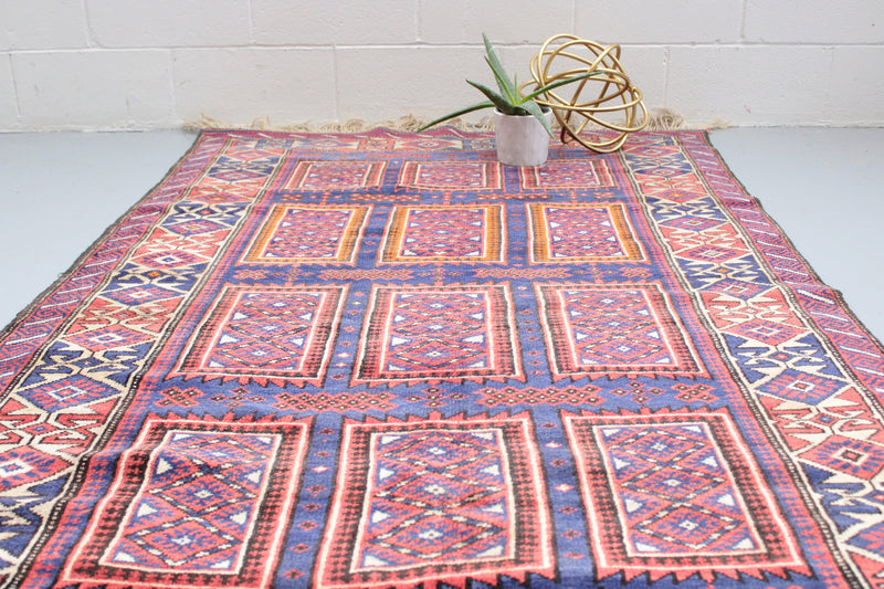 Orange Afghan Rug | Boho Rug | Orange Blue Vintage Rug | 4 x 6 Area Rug | Hand Knotted Persian Rug | Colorful Rug | Vintage Rug Shop