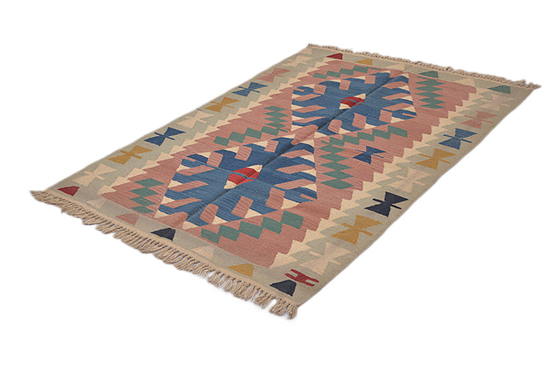 Turkish Kilim Rug | Pink Beige Rug | 4 x 6 Feet Rug | Tribal Geometric Rug | Wool Rug