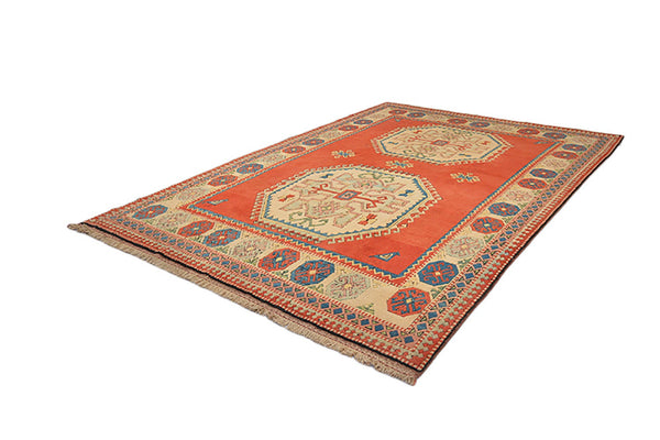 11.1 x 7.4 Feet Large Kazak Rug | Red Beige Rug | Vintage Tribal Rug | Wool Handmade Rug | Medallion Rug