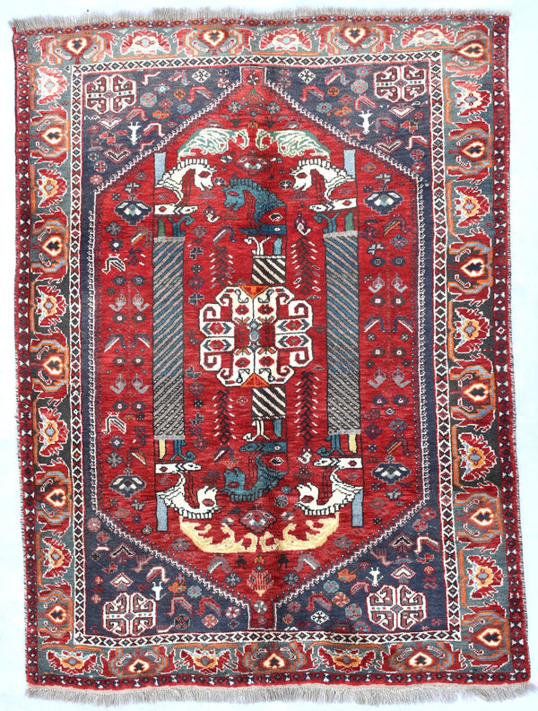 Red Tribal 4x6  Rug | Vintage Turkish Persian Rug | Hand Knotted Rug |  Geometric Bohemian Rug