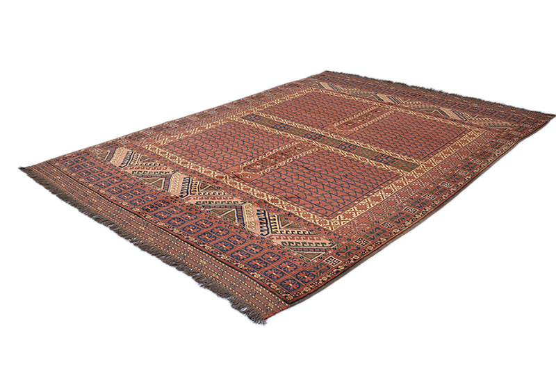 Vintage Turkish Rug | 7 x 9 Feet | Large Persian Rug | Wool Rug | Red Tribal Rug | Geometric Pattern | Handmade Rug