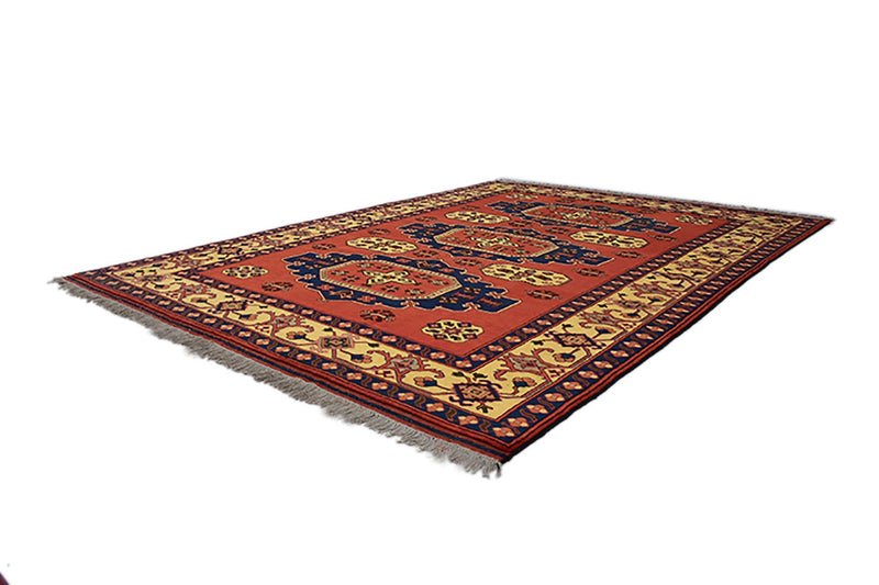 Red Vintage 6x9 Rug | Geometric Tribal Turkish Persian Rug | Eclectic Boho Rug | Medallion Rustic  Antique Rug