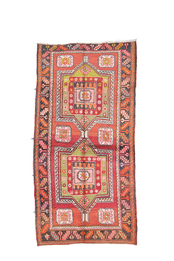 Bohemian Hand Knotted 3x7 Runner Rug | Wool Multi Color Bright | Geometric Kazak Pattern Kitchen Runner Rug
