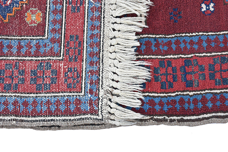 Antique Kazak Rug | Burgundy Red Blue Rug | 4 x 5 ft Rug | Geometric Tribal Rug | Wool Rug | Accent Rug | Handmade
